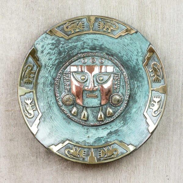 Handcrafted Copper Bronze 'Lambayeque' Decorative Plate (Peru)