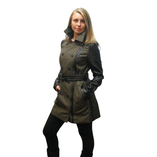 Laundry by Shelli Segal Olive Green Trench Coat