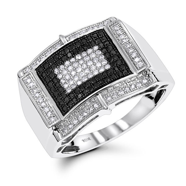Luxurman Mens' White Black Diamond Ring 0.65ct 10K (H-I/Black; SI2-I1/AAA)