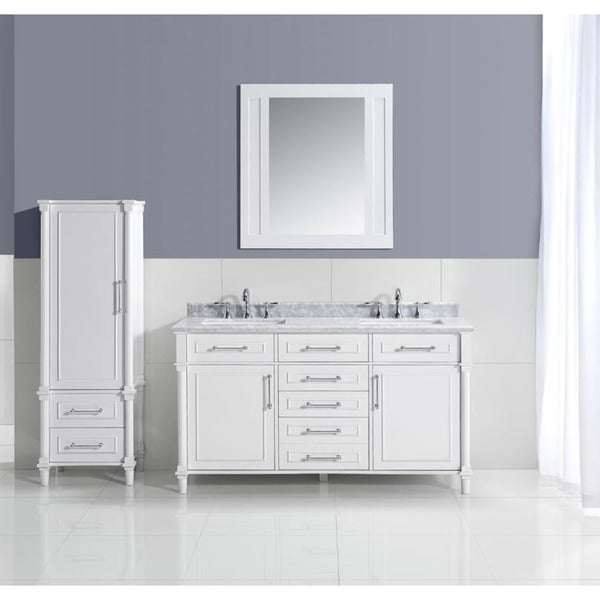 Ari Kitchen and Bath Ani White Wood and Marble 60-inch Double Bathroom Vanity Set