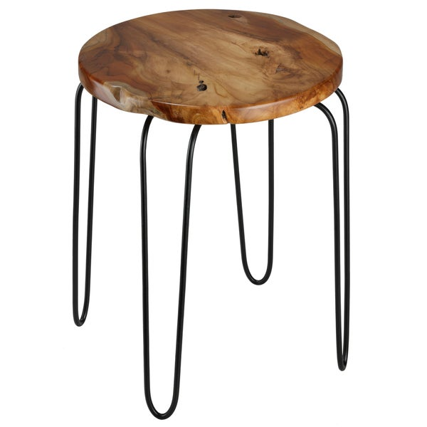 Bare Decor Lacie Round Solid Teak Root-top End Table