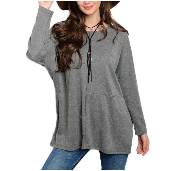JED Women's Grey and Red Long-sleeve Loose-fit Pull-over Knit Top