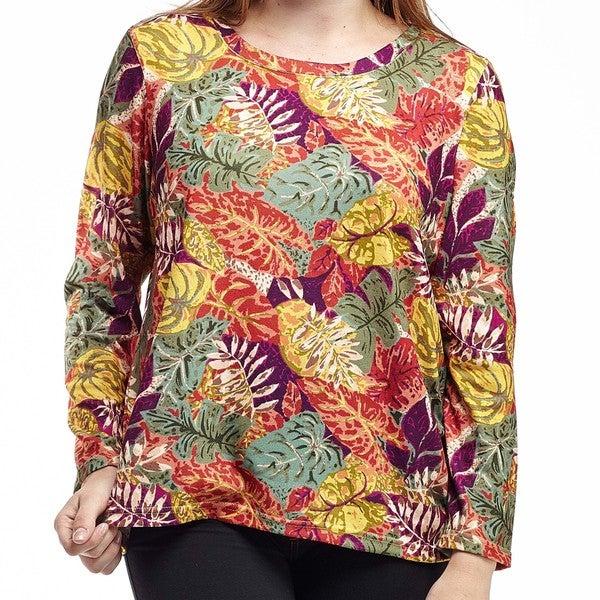 La Cera Women's Plus Size Printed Pullover Top