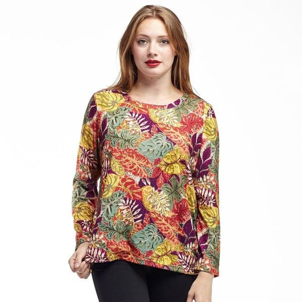 La Cera Women's Printed Pullover Top