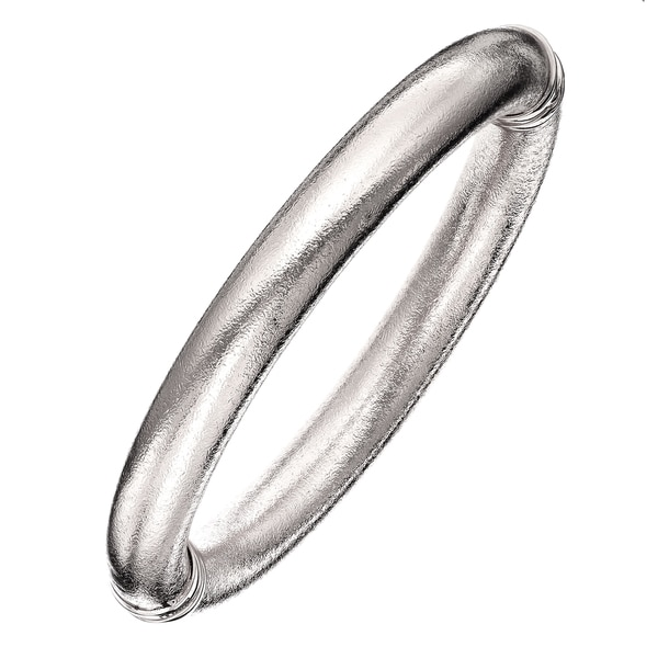 Isla Simone - Fine Silver Electro Plated 10MM Mill Grained Bangle