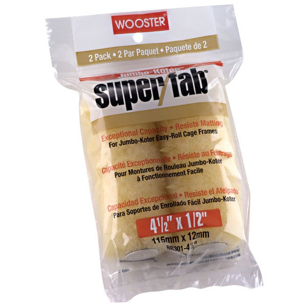 """Wooster RR301-4 1/2 2 Pack 4-1/2"""" X 1/2"""" Super/Fab Rollers"""