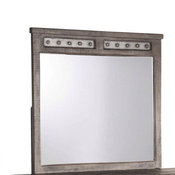 Hillsdale Dark Grey Wood Bolt Mirror