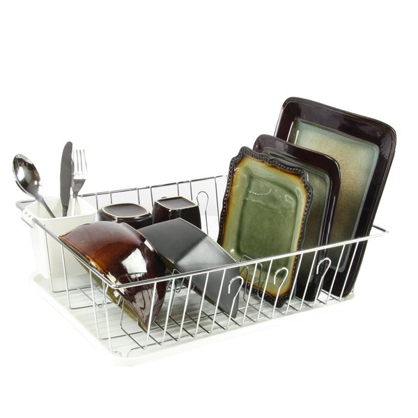 Mega Chef White Iron Wire 17.5-inch Single-level Dish Rack with 14 Plate Positioners and a Detachable Utensil Holder 21441102