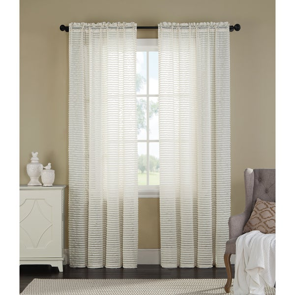 Blinds by Artistic Linen Ivory Polyester Sheer Single Window Curtain Panel
