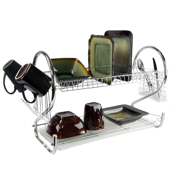 Mega Chef Chrome Iron Wire 16-inch Two-shelf Dish Rack with Removable Draining Tray