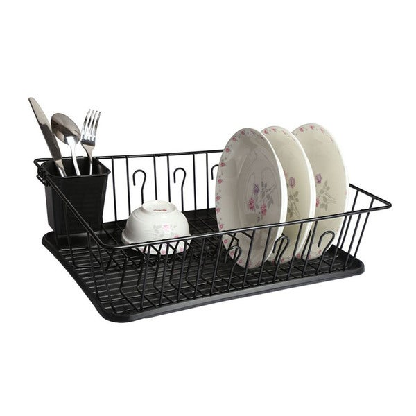 Mega Chef Black Stainless Steel and Plastic 17.5-inch Dish Rack with 14 Plate Positioners and a Detachable Utensil Holder 21454514