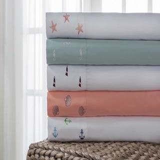Hotel Coastal Embroidered 4-piece Microfiber Bed Sheet Set