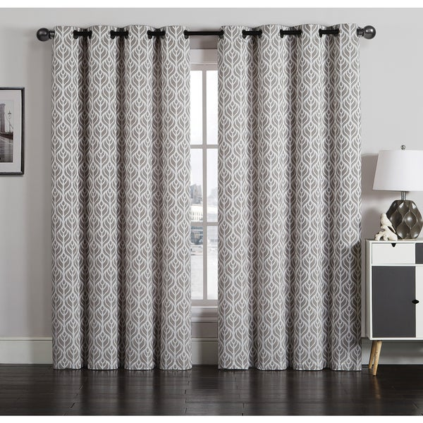 Artistic Linen Tanya Grommet-top Jacquard Window Curtain Panel