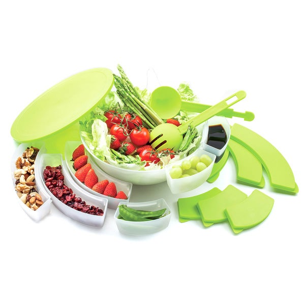 White and Green 15-piece Salad Bowl Set