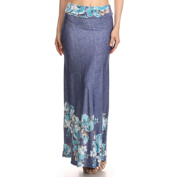 Women's Blue Denim Maxi Skirt