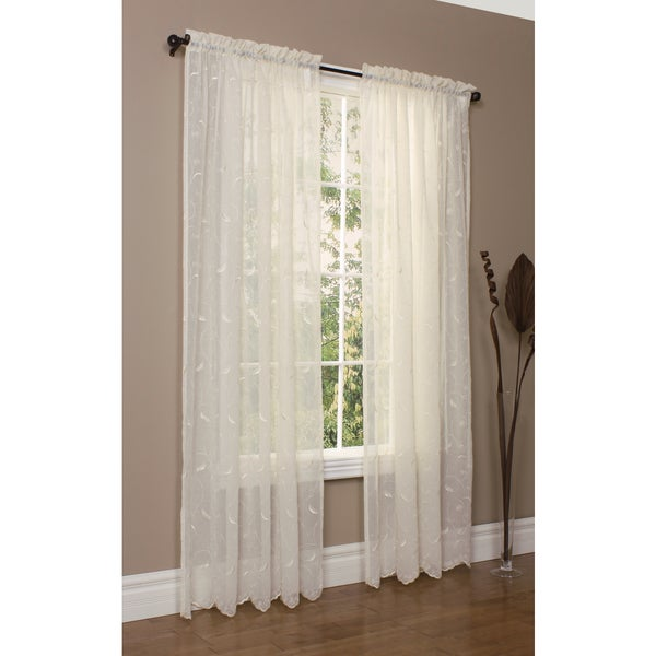 Hathaway Habitat White Polyester Scroll Embroidered Window Curtain Panel