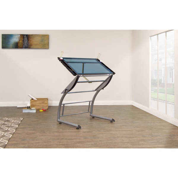 Studio Designs Triflex Silver Metal and Glass Drawing Table