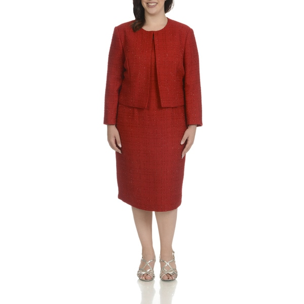 Mia-Knits Collection Women's Plus-size Multicolor Polyester Glitter Boucle 2-piece Dress Suit