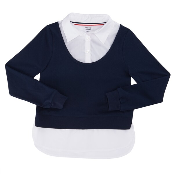 French Toast Girls' Long-sleeved Ribbed Twofer 21457579