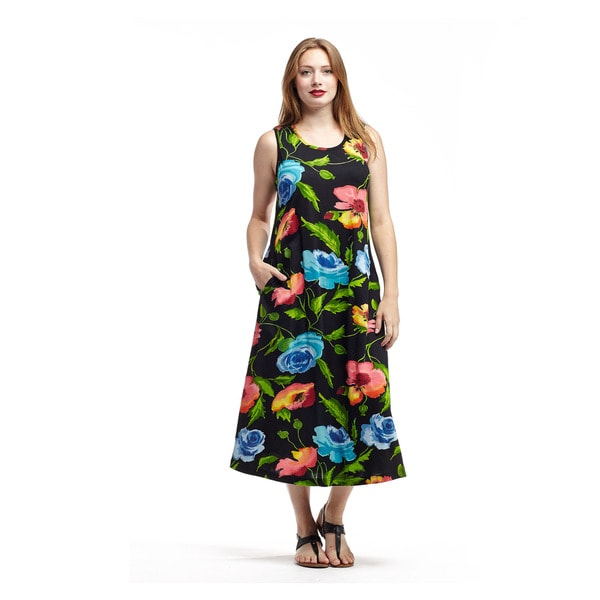 La Cera Women's Black Cotton Floral-printed Long Pull-over Scoop-necked Sleeveless Sundress