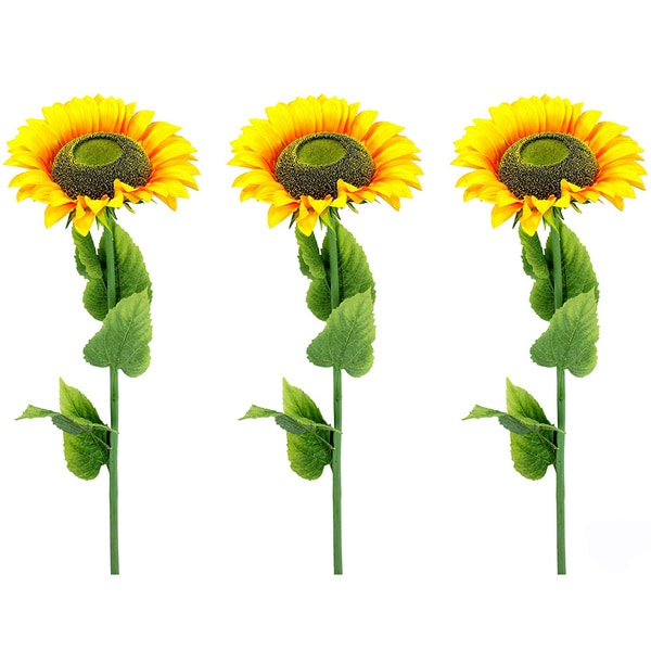 Yellow 56-inch High Artificial Large Single Stem Blooms Sunflower (Pack of 3)