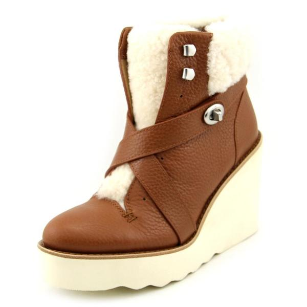 Coach Womens Kenna Brown Leather Wedge Dress Shoes