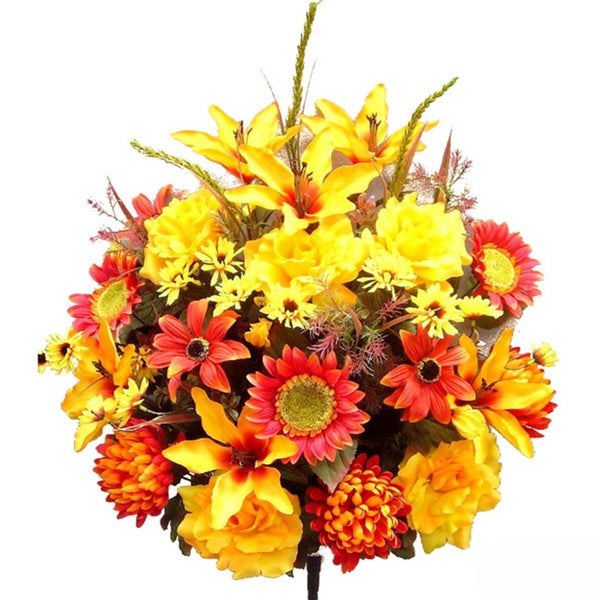Admired by Nature 33 Stems Artificial Full-blooming Sunflowers, Roses, Lilies, and Black-eyed Susans with Foliage Mixed Bush