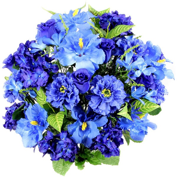 Admired by Nature Blue and Green Hibiscus, Rosebuds, Freesias, and Filler Flowers 36-stem Artificial Mixed Bush