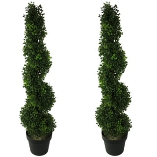 3-foot Faux BoxwoodSpiral Topiary Plant in Plastic Pots (Set of 2)