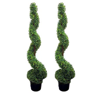 5-foot Artificial Spiral Boxwood Topiary in Plastic Pot (Set of 2)
