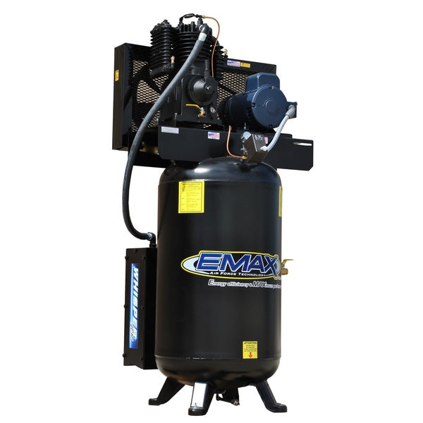 EMAX Industrial Silent Air 7.5HP 1-phase 80 Gallon Verticial Air Compressor