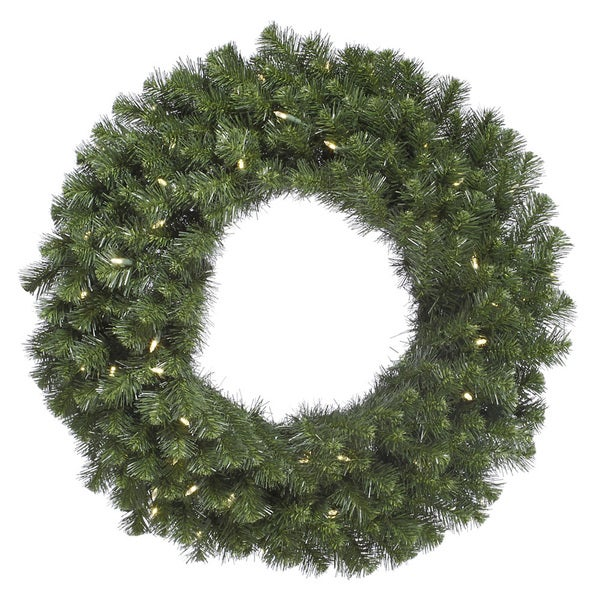 Green Artificial 36-inch Douglas Fir Wreath with 100 Warm White LED Lights and 320 Tips