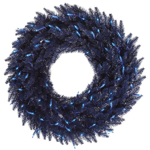 Vickerman Navy Blue Fir 24-inch Artificial Wreath With 50 Blue Dura-Lit Lights and 210 Tips