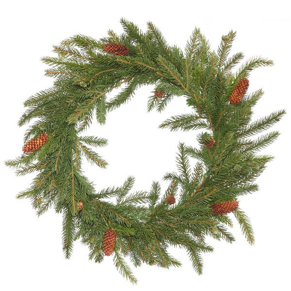 White Spruce 21-inch Wreath with Pine Cones