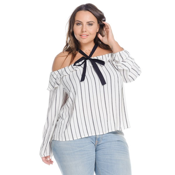 Hadari Women's Plus Size White Long Sleeve Off Shoulder Ruffle Stripe Blouse