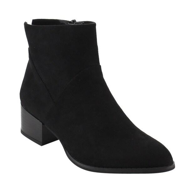 Reneeze Women's Black Faux Suede Side Zipper Stacked Block Heel Ankle Booties