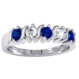 14k Gold 7/8-carat Round Blue and White Sapphire Ladies 5-stone Bridal Anniversary Wedding Band