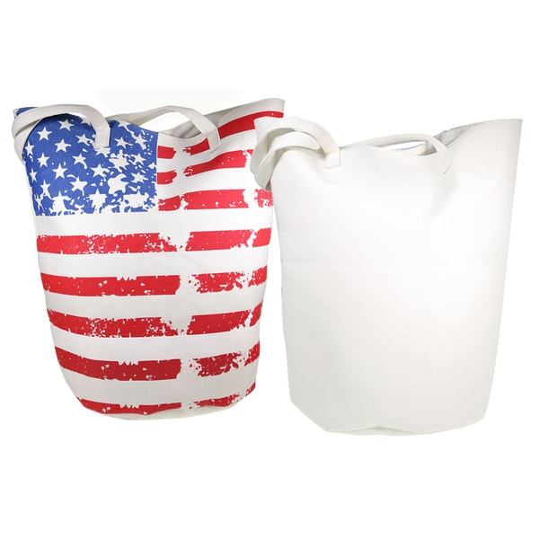 Worthy Stars and Stripes Red, White, and Blue Canvas Jumbo Bucket Tote Bag