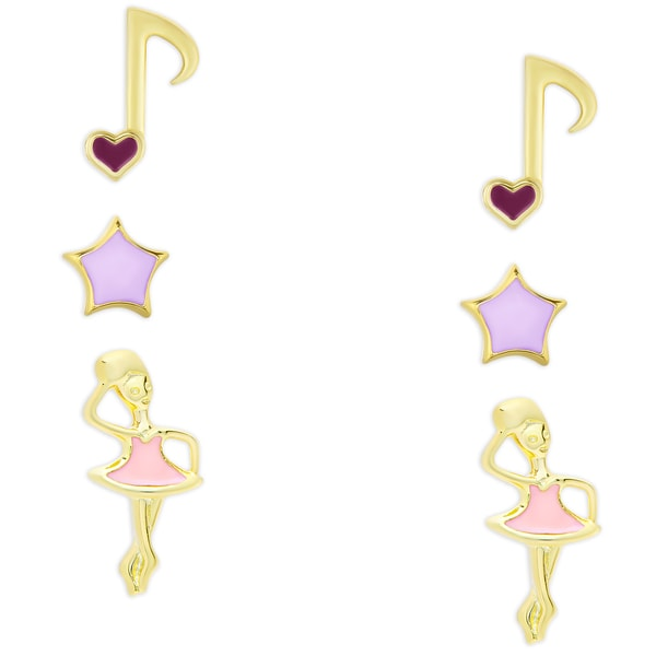 Molly and Emma Gold Over Sterling Silver Enamel Music Note, Star and Ballerina Stud Earrings Set
