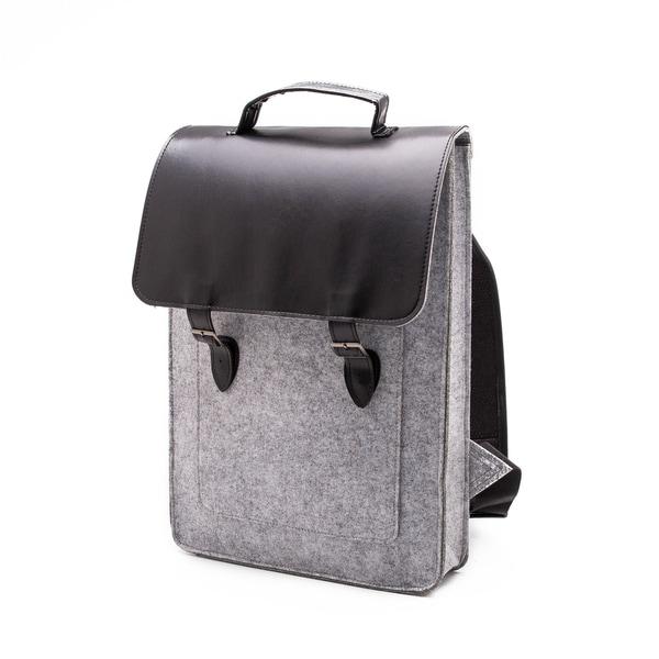 Something Sleek Light Grey Flap-Over Laptop Backpack