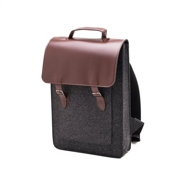 Something Sleek Dark Grey Flap-Over Laptop Backpack