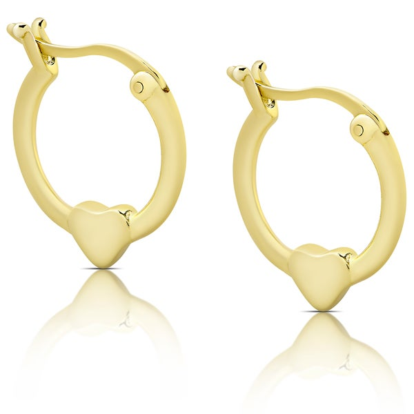 Molly and Emma Gold Over Silver Heart Hoop Earrings