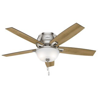 """Hunter 52"""" Donegan Low Profile Ceiling Fan with LED Light Kit and Pull Chain - Brushed Nickel"""