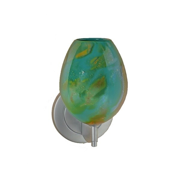 Bruck Lighting Bolero Low Voltage Matte Chrome Wall Sconce with Seafoam Green Glass Shade