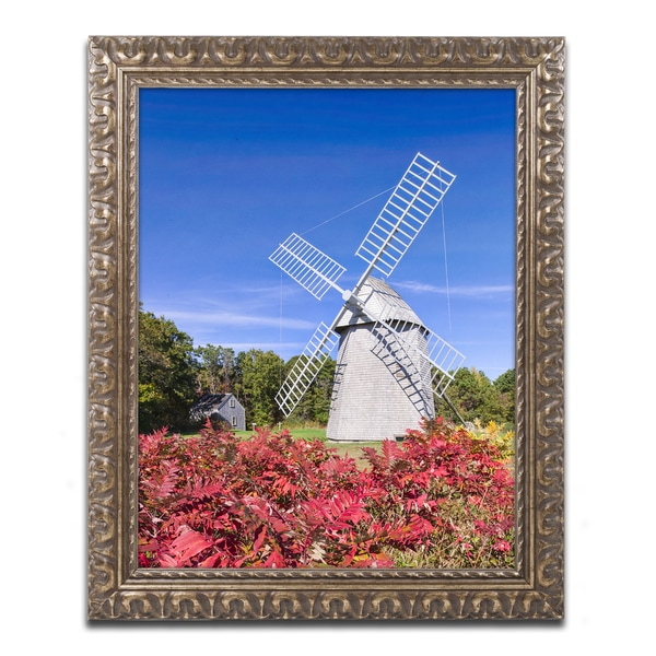 Michael Blanchette Photography 'Higgins Windmill' Ornate Framed Art
