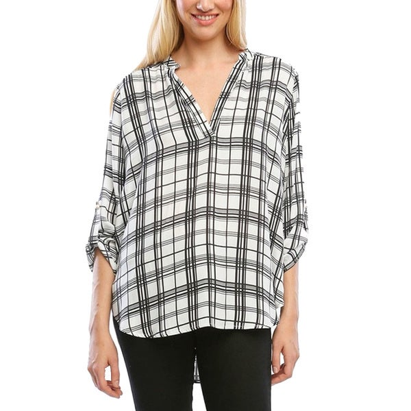 Women's Woven Plaid Top