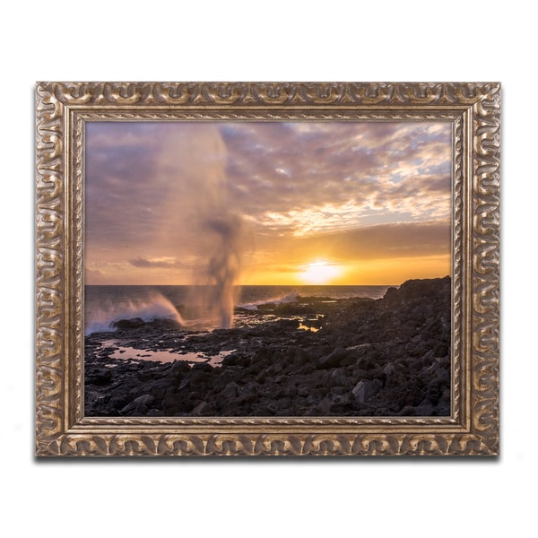 Pierre Leclerc 'Spouting Horn Kauai' Ornate Framed Art