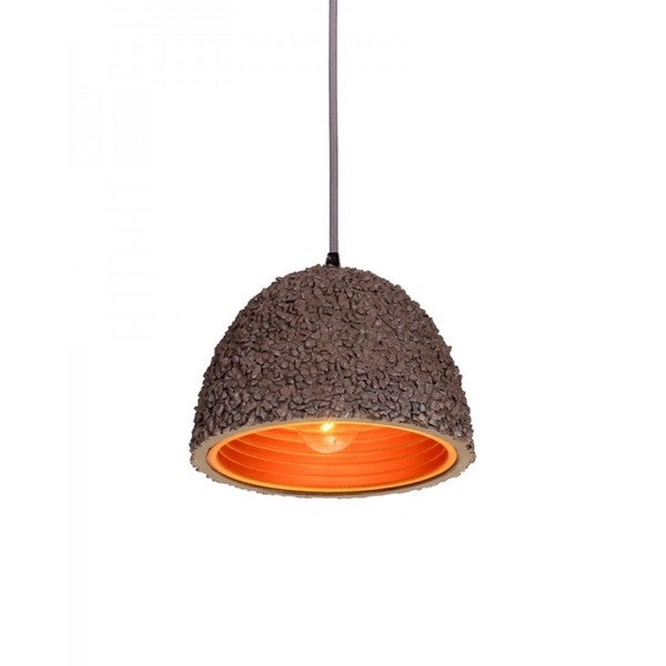 Brown Concrete Pebbled Pendant Light