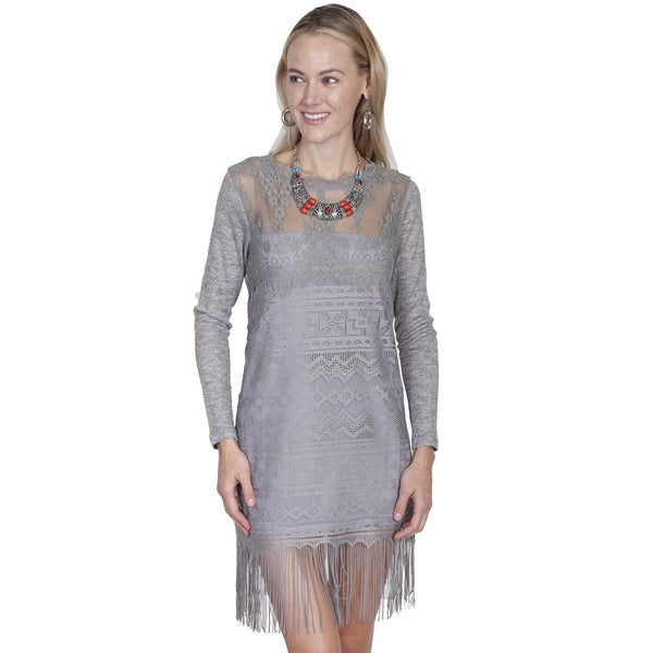 Scully Leather Linen/Polyester Lace Long-sleeved Dress with Tonal Lining