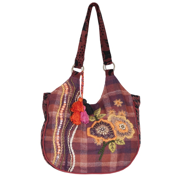 Scully Cotton Embroidered Floral Hobo Handbag